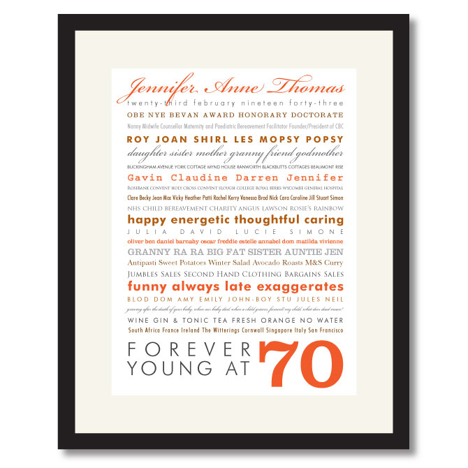 70th Birthday Print Give A Personalised Print