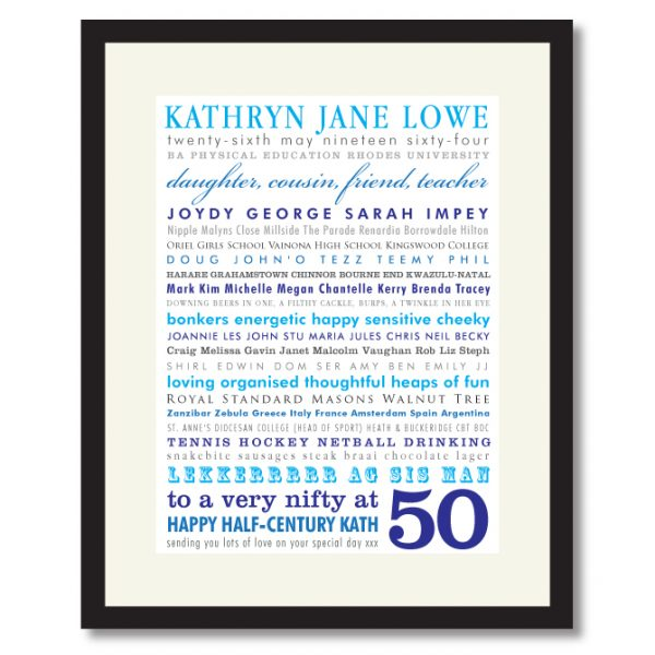 50th birthday personalised gift idea