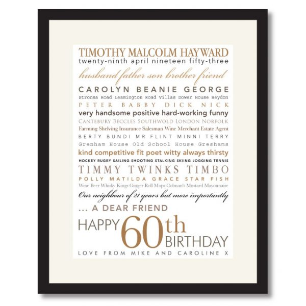60th Birthday Print