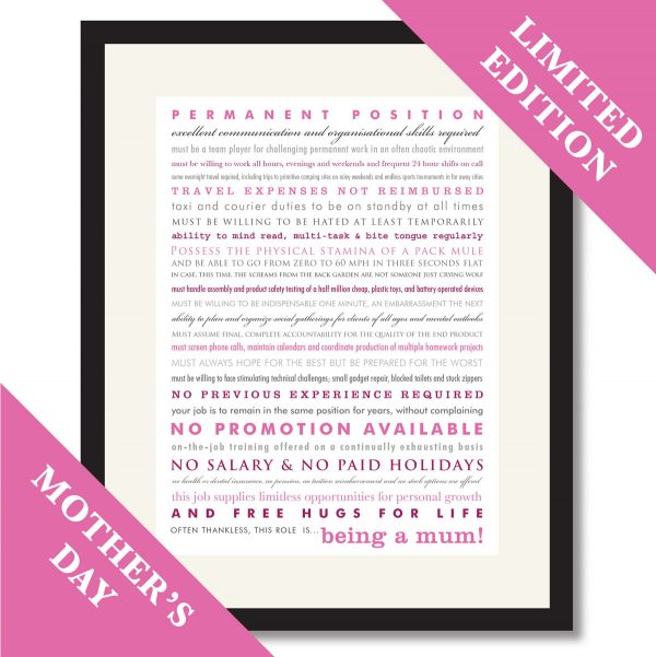 Being a Mum - typographic print