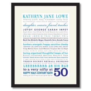 50th birthday personalised gift idea